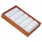 "10 Glass-Top 2 x 1"" Gem Jars w/White Rolled-Foam Inserts in Beech Wood Trays, 8"" L x 5.5"" W"