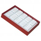 "10 Glass-Top 2 x 1"" Gem Jars w/White Rolled-Foam Inserts in Mahogany Wood Trays, 8"" L x 5.5"" W"