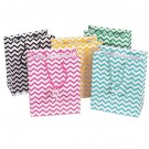 "Chevron-Print Tote-Style Gift Bags in Assorted Chevron Prints, 4.75"" L x 6.75"" W"