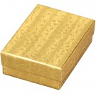 A&A Cotton-Filled Gift Boxes in Embossed Gold Foil, 3.5 x 1.5 in.
