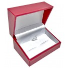 """Designer"" Cufflink Box in Coral & Diamond (2-Pc. Packer)"