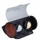 "Diplomat ""Economy"" Double Watch Winder in Black & Burlwood"
