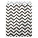 Paper Gift Bags in Black on White Chevron Print, 6 x 9 in.