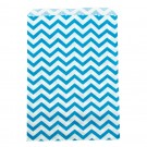 Paper Gift Bags in Capri Blue on White Chevron Print, 6 x 9 in.