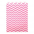 "Bubblegum & White Chevron-Print Paper Gift Bags, 8.5"" L x 11"" W"