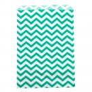 "Aqua & White Chevron-Print Paper Gift Bags, 5"" L x 7"" W"