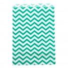 "Aqua & White Chevron-Print Paper Gift Bags, 6"" L x 9"" W"