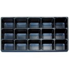 15 Section Black Plastic Tray Insert