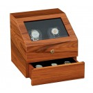 "Orbita ""Siena"" Self-Programming Double Watch Winder in Laquered Maple Burlwood"