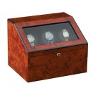 "Orbita ""Siena"" Self-Programming 3-Watch Winder in Laquered Maple Burlwood"