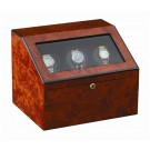 "Orbita ""Siena"" Programmable 3-Watch Winder in Laquered Maple Burlwood"