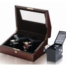 Orbita Sempre 2 Watch Winder - Burl/Black Leather